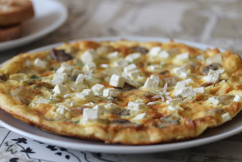 Wild garlic frittata