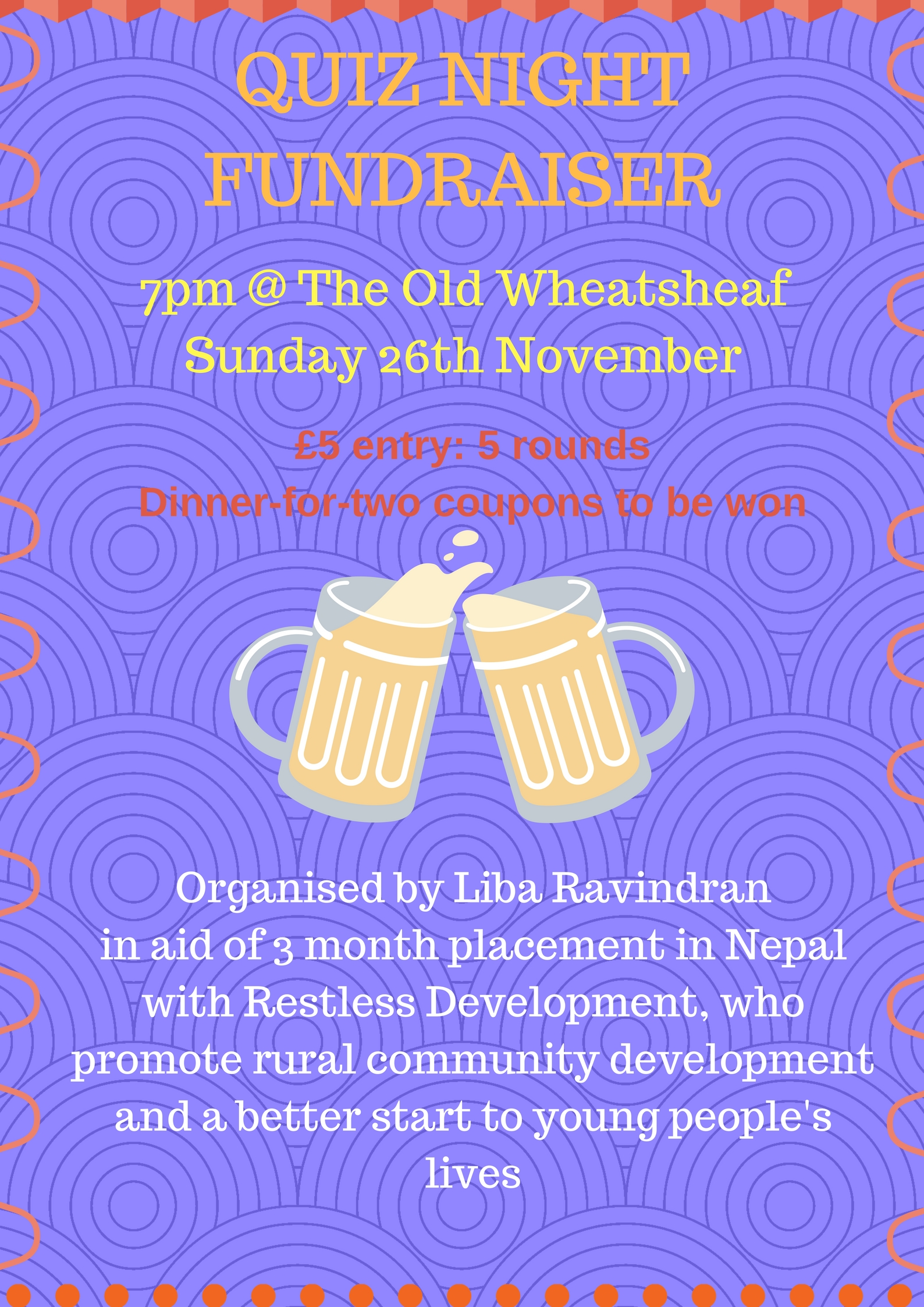 Upcoming events high living barnet a five round pub quiz at the old wheatsheaf in aid of liba ravindrans fundraising appeal to help rural communities in nepal with restless development stopboris Choice Image